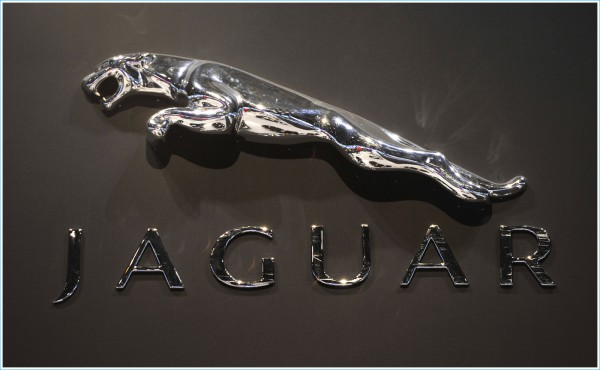 The logo for Jaguar on display at the Chicago Auto Show